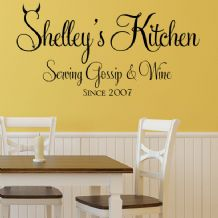 Personalised Kitchen Serving Gossip and Wine   ~ Wall sticker / decals